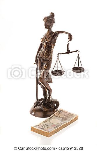 justice and the yen. symbol for legal costs - csp12913528