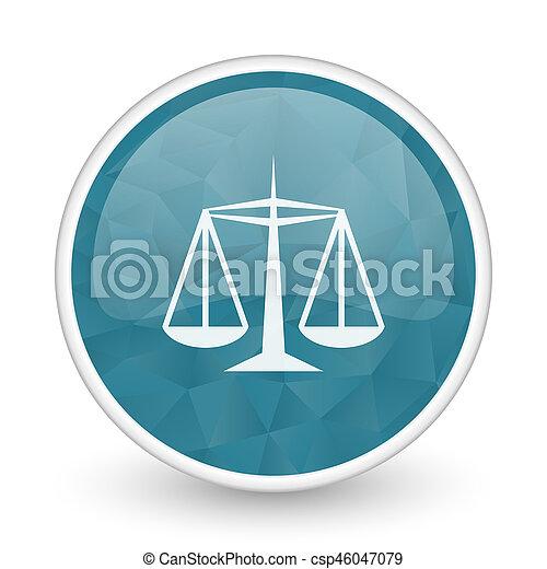 Justice brillant crystal design round blue web icon. - csp46047079