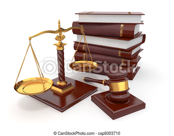 justice concept. law, scale and gavel. 3d stock illustration