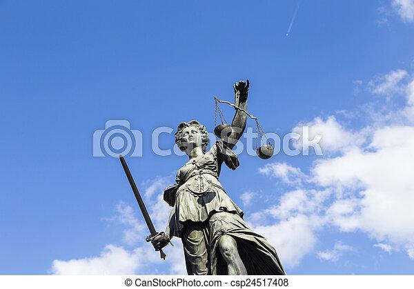 justice, francfort, dame, allemagne, statue - csp24517408
