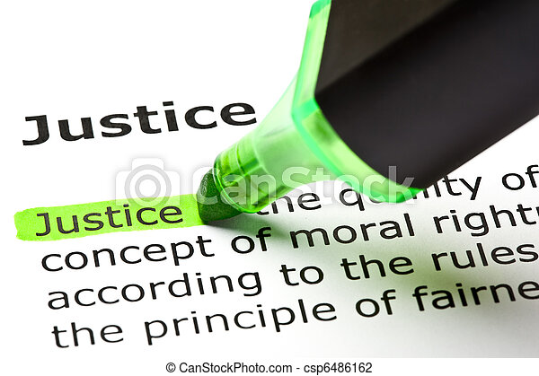 'Justice' highlighted in green - csp6486162