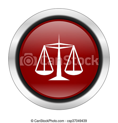 justice icon, red round button isolated on white background, web design illustration - csp37049439