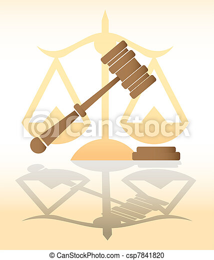 justice, judge hammer, law - illustration - csp7841820
