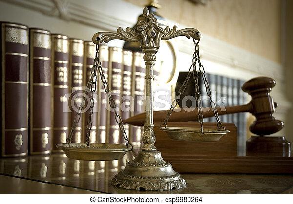 justice, judge`s, marteau, balances - csp9980264