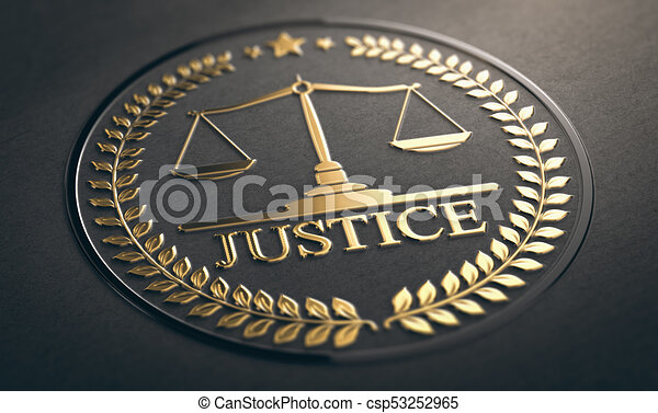 Justice, Law and Equality Symbol Over Black Background - csp53252965
