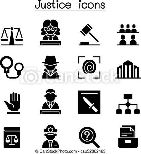 Justice , Law, Court, legal icon set - csp52862463