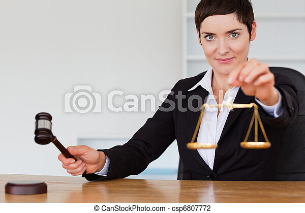 justice, marteau, juge, échelle - csp6807772