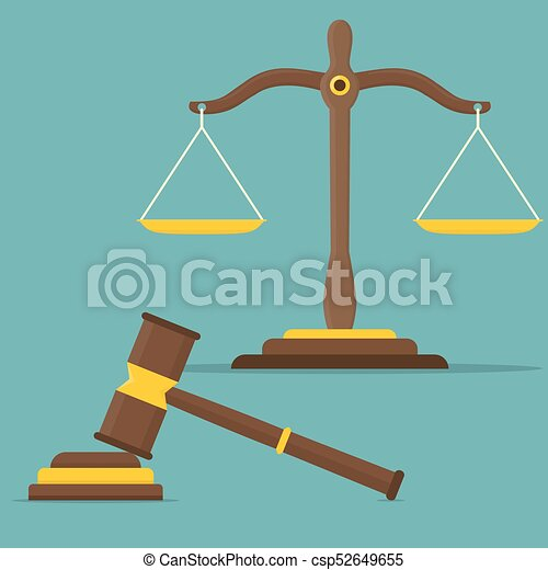 Justice Scales And Wooden Judge Gavel Libra In Flat Design Vector Illustration