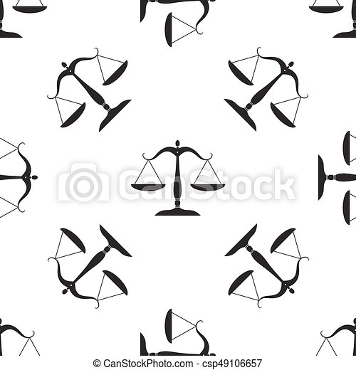 Justice scales silhouette icon seamless pattern on white background. Vector Illustration - csp49106657