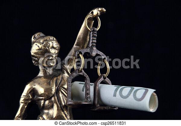 justice, symbole, justice., billet banque., statue, polonais, droit & loi - csp26511831