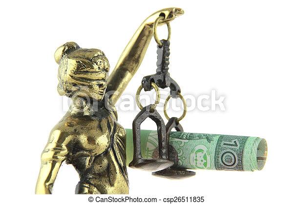 justice, symbole, justice., billet banque., statue, polonais, droit & loi - csp26511835