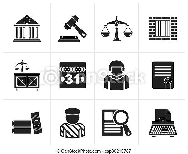 justice, système juridique, icônes - csp30219787