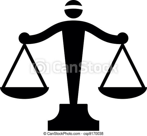 justice, vecteur, icône, balances - csp9170038