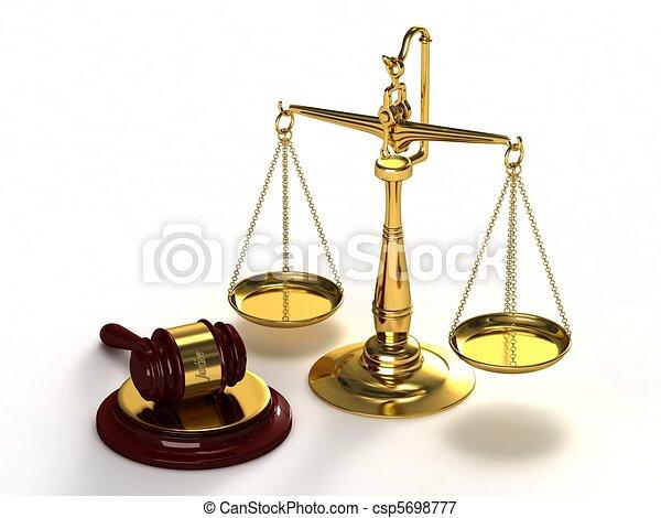 Escamas de justicia y martillo. - csp5698777