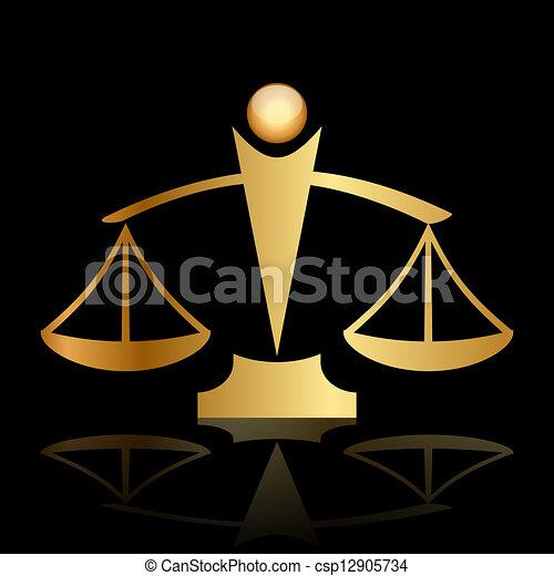 Escamas de justicia en el fondo negro - csp12905734
