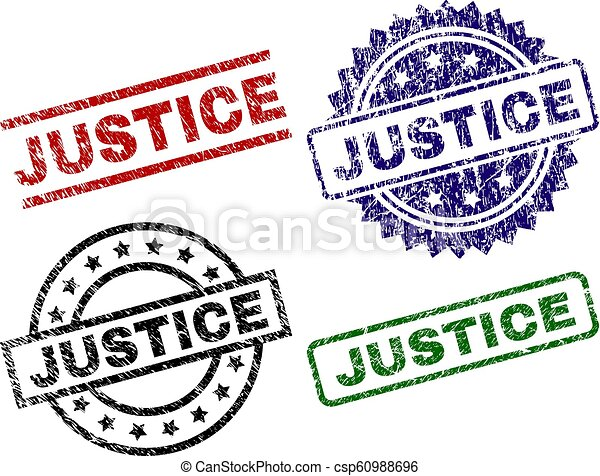 El grunge texturó sellos de JUSTICIA - csp60988696