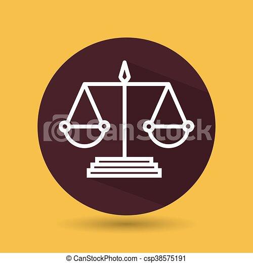 El símbolo de la justicia aisló el diseño de iconos - csp38575191