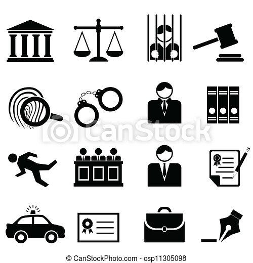 justicia, legal, ley, iconos - csp11305098