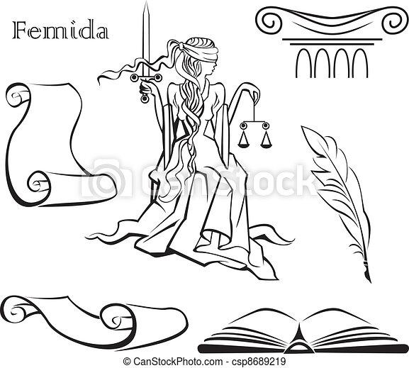 Un conjunto de símbolos de justicia - csp8689219
