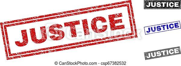 Grunge JUSTICE texturó sellos rectángulos - csp67382532