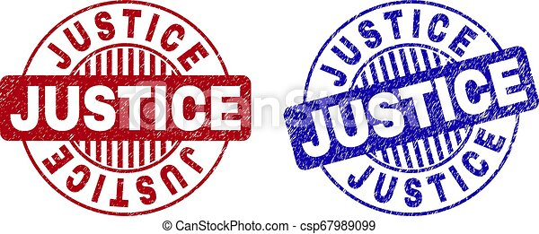 Grunge JUSTICE texturó sellos redondos - csp67989099
