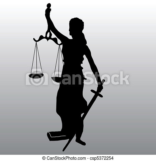 Silueta de la estatua de la justicia - csp5372254