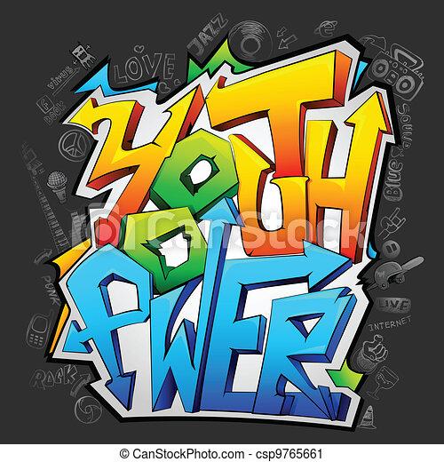juventude, graffiti, poder - csp9765661