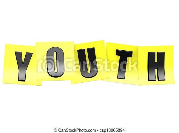 juventude, nota, amarela - csp13065894