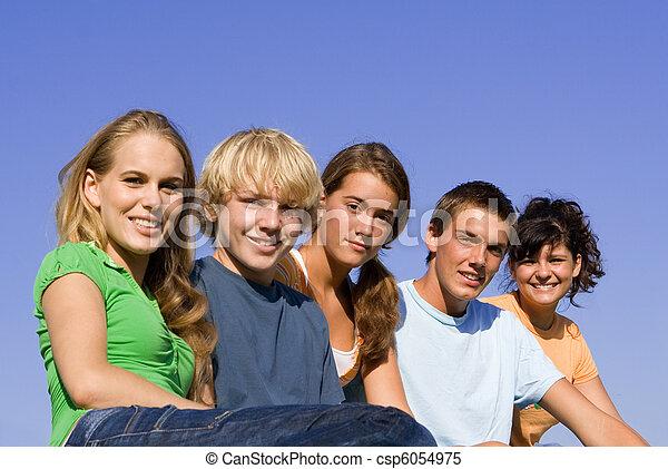 juventude, sorrindo, grupo, feliz - csp6054975