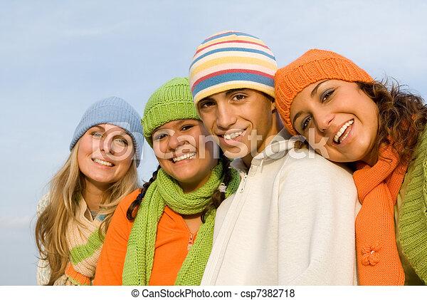 juventude, sorrindo, grupo, feliz - csp7382718