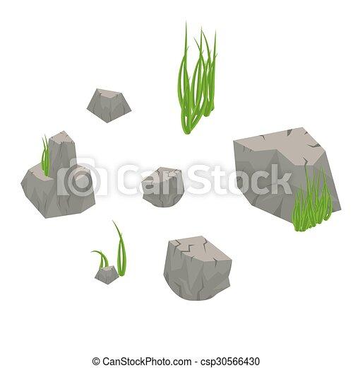 kámen, pastvina, osamocený, white., led - csp30566430