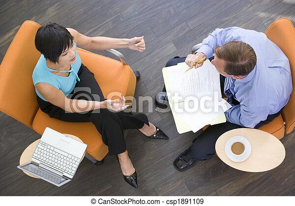 kávécserje, ülés, laptop, businesspeople, két, bent, irattartó - csp1891109