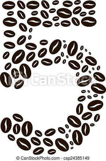 kávécserje, elkészített, állhatatos, szám, vektor, 5, bab - csp24385149