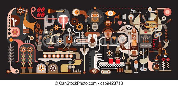 kávécserje, gyár, ábra, vektor - csp9423713
