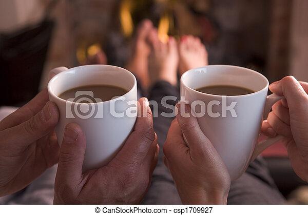kávécserje, lábak, hatalom kezezés, kandalló, melegítés - csp1709927