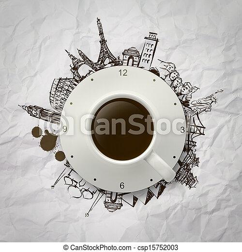 kávécserje, mindenfelé, csésze, utazó, világ, 3 - csp15752003