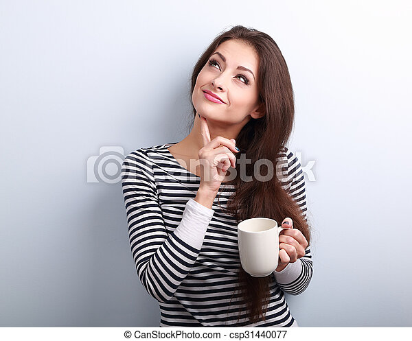 kávécserje, nő, csésze, gondolkodó, érintett, fiatal, feláll, látszó - csp31440077