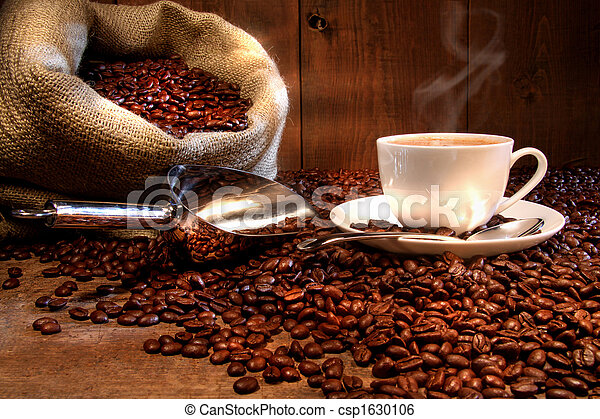 kávécserje, zsákvászon, csésze, kirúg, bab, pörkölt - csp1630106