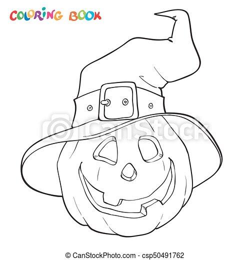 Kã¼rbis, färbung, halloween, book., hat. Page., färbung,... Clipart ...