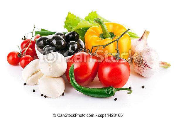kã¤se, gemuese, italienesche, mozzarella, frisch - csp14423165