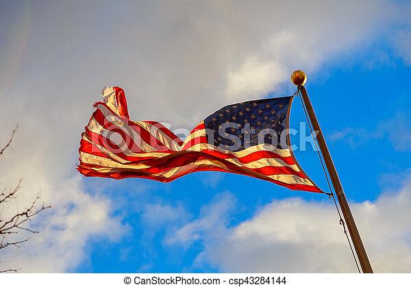 kék ég, amerikai, ellen, hullámzás, háttér., lobogó - csp43284144