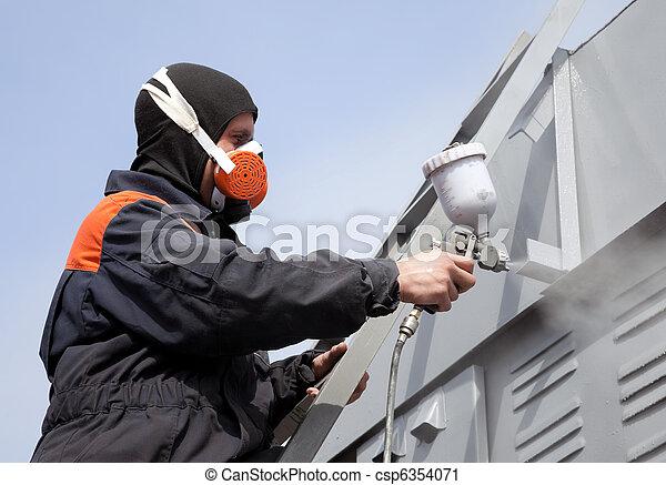 kék, acél, fal, lépcsősor, kereskedelmi, ellen, gally, külső, festmény, szobafestő, ég - csp6354071