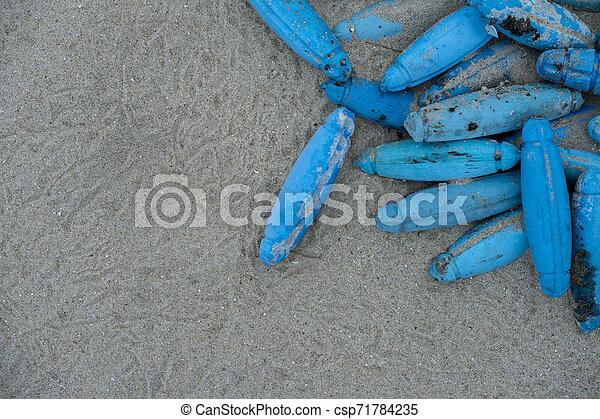 kék, bója, tengerpart., öreg, műanyag - csp71784235