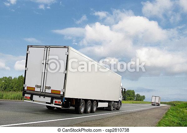 kék, csillék, ország, ég, alatt, fehér, autóút - csp2810738