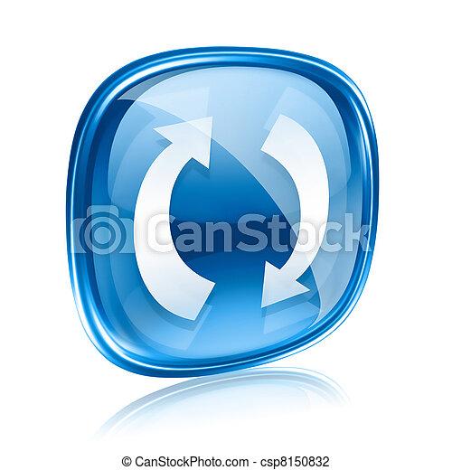 kék, elszigetelt, felfrissít, háttér., pohár, fehér, ikon - csp8150832