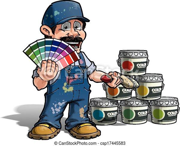 kék, ezermester, arcszín, -, egyenruha, feltörés, szobafestő - csp17445583