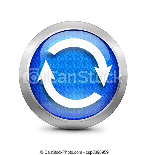 kék, felfrissít, ikon - csp8398959