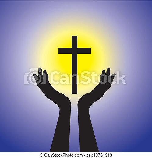 kék, fogalom, keresztény, hűséges, jámbor, nap, vagy, -, sárga, jézus, személy, buzgó, háttér, imádkozás, méltóság, cross(christ), feszület - csp13761313