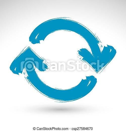 kék, ismétel, egyszerű, multimédia, korszerűsíteni, felfrissít, elszigetelt, háttér, ecset, kéz, jelkép., húzott, fehér, aláír, navigáció, rajz, icon., hand-painted - csp27584670