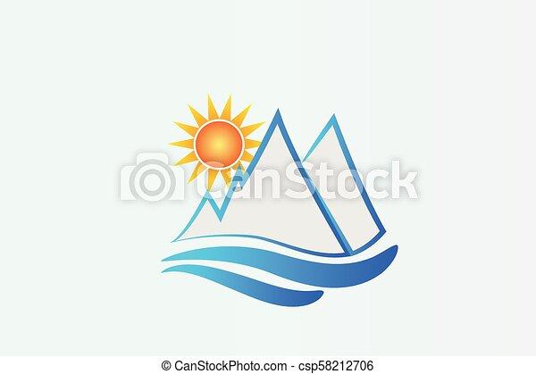 kék, jel, hegyek, nap - csp58212706